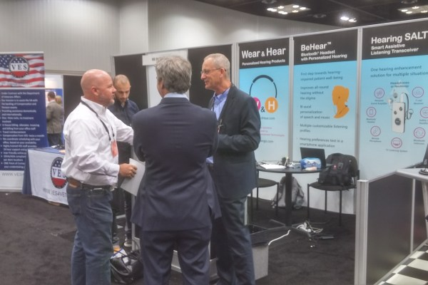 #AudiologyNOW17 was a great place to meet up with forward-thinking audiologists, such as Brian Taylor (center), editor of Hearing News Watch at HearingHealthMatters.org. He is flanked by Alango CEO Alexander Goldin (left) and Alango audiologist and engineer Suhail Habib Alla (right).