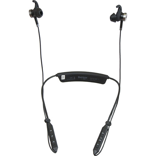 Front view of BeHear NOW personalized hearing headset with cables clipped for comfort.